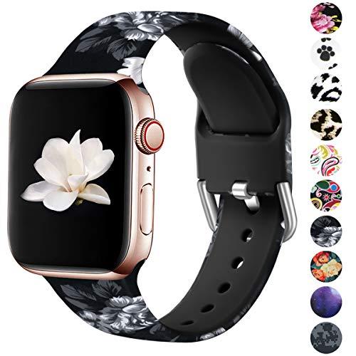 HUMENN Compatibile con Apple Watch Cinturino 44mm 42mm 40mm 38mm, Cinturino Stampato in Silicone Morbido per iWatch Series 5 4 3 2 1, 38mm/40mm-S/M, Floreale Grigio