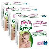 Love & Green - Couches Bébé Hypoallergéniques 0% -  Taille 5 (11-25 kg) - Lot de 3 x 40 couches (120 couches)