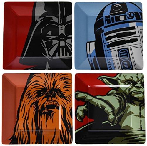Star Wars Lot de 4 assiettes Motif personnages emblématiques Multicolore 20,5 x 2 x 20,5 cm