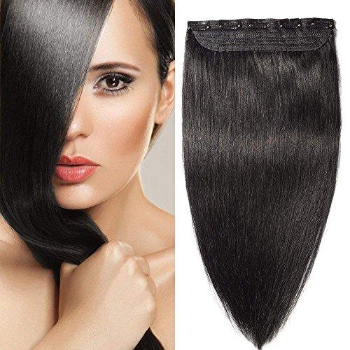 Extension a Clip Cheveux Naturel Rajout Cheveux Humain Type Epais - Remy Human Hair - #1B NOIR NATUREL - Une Bande/Monobande - 60CM(105g)