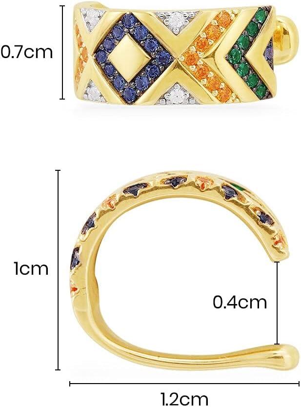 Star Earcuffs Earrings for Women Colorful Multi-Hoop Rhinestone Ear Cuff Romantic Heart Boho Ear Clips On Ear