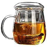 ATYBO Tazza da tè con Filtro sul Coperchio, Tazze da caffè Set da tè Tazze Birra Drink Office Mug Bicchieri Trasparenti Bicchiere in Stile Cinese