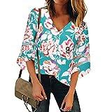 WARMWORD Mujer Tops Camisetas Dama Hermoso Estampado de Flor