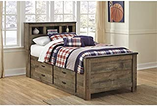 Ashley Furniture Trinell Twin Bed with Underbed Storage in Brown