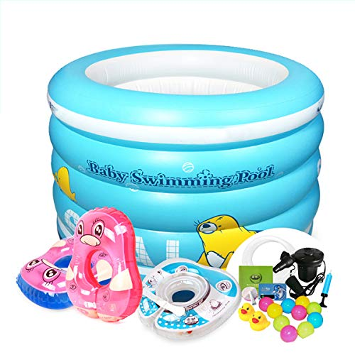 Vier-Ring Runde Aufblasbare Badewanne,Tragbar Kleinkind Kinderpools,Easy Set Kinder Badefass,Baby Aufblasbare Pools Himmel 96x73 cm
