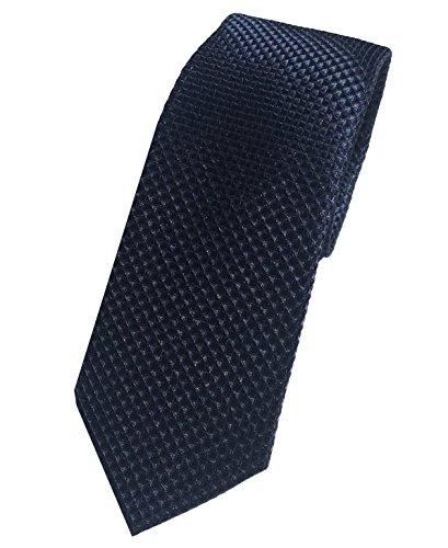 PB Pietro Baldini Herren Krawatte - Krawatte blau mit Diamanten Struktur - Elegante handgefertigte Krawatte für Herren aus microfaser - (Blau)