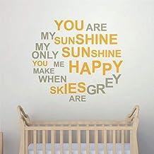 """Pegatinas de pared y murales de vinilo con cita """"You are My Sunshine Cite"""", para decoración del hogar, póster extraíble pa..."""