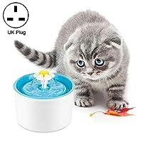 ペット用品 1.6L自動電気水噴水犬猫ペット酒飲みボウル飲む噴水ディスペンサー、英国プラグ 給餌・散水用品 (色 : Blue)