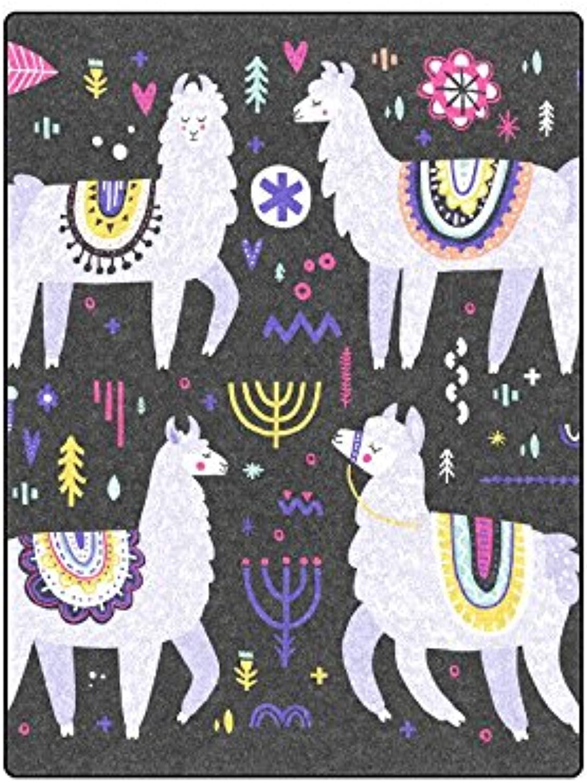 InterestPrint Adorable Llama Fleece Blanket,Bed Blankets Plush Couch Blanket Lightweight Throw Soft Cozy 50  x 60