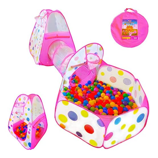 Playz 3pc Kids Play Tent Crawl Tunnel and Ball Pit Pop Up Playhouse Tent with Basketball Hoop for Girls, Boys, Babies…