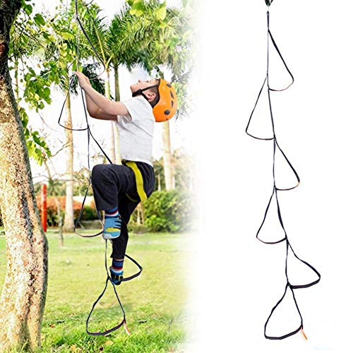 hook.s Kids Rope Ladder,6-Step Climbing Strap Ladder Rope,Rope Ladder Swing Hangs Up To 2 Metres High Ideal for Climbing Frame Tree House Den Play House