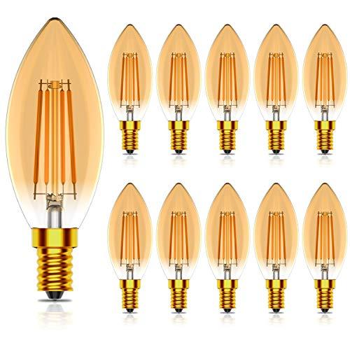 10er Pack E14 Kerze LED Lampe,4W ersetzt 40 Watt,Nicht Dimmbar,400LM,Warmweiß 2700K,Vintage Edison E14 Glühfaden Kerzenlampe,CRI >80,AC 220-240V