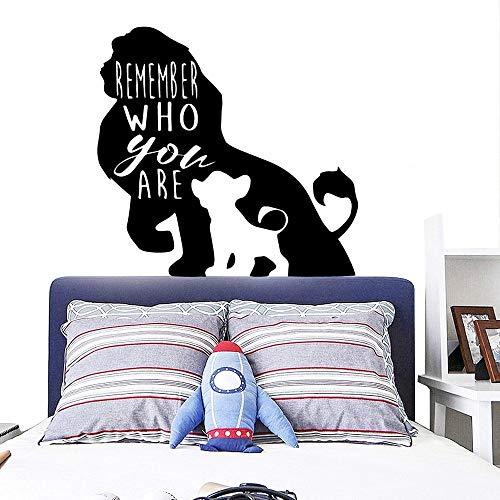 WERWN Pegatinas de Pared de Rey León de Dibujos Animados Citas Recuerda quién Eres Bebé Decoración de Dormitorio para niños Los Padres aman la decoración