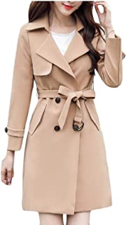 Womens Double Breasted Coat Mid Long Belted Trench Coat Jackets