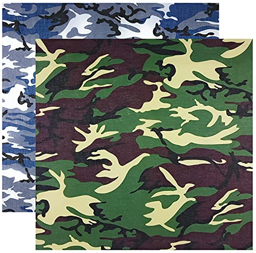 Pañuelo multifuncional de camuflaje, estilo militar, 100 % algodón, pañuelo para la cabeza, pañuelo multifunción, unisex, monocolor, Pack de 2 unidades, azul grisáceo y verde, Talla única
