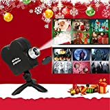Christmas Projector Lights, 12 Movie Halloween Holographic Projection Programs Projection Lights with a Tripod, Outdoor Garden Holidays Decoration Turn Your Windows into A Festive Movie Screen