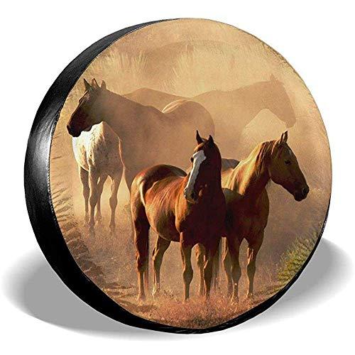 Hiram Cotton Reserveradabdeckung Pferd Polyester Universal Staubdicht Sonnenschutz Radabdeckungen für Jeep Trailer SUV LKW und viele Fahrzeuge 14-17 Zoll