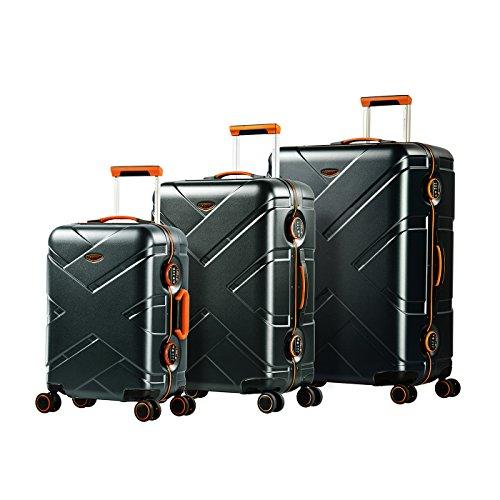 Eminent Koffer-Set Gold Crossover 3-teilig 1x Handgepäck Koffer Gr. S 1x Koffer Hartschale Größe M + L Aluminumrahmen 4 Doppelrollen 360° TSA Schloss...