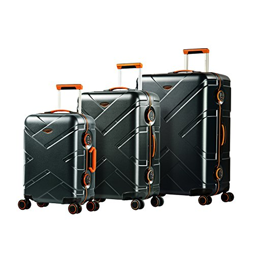 Eminent Luggage Set Gold Crossover 3 pcs Aluminium Frame 4 Double Silent Wheels TSA Lock Graphite/Orange