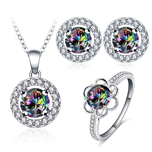 AnazoZ 1 Schmuckset Ohrringe Ring Halskette mit Anhänger, Bunt Zirkonia Steinchen für Damen Hochzeitsschmuck inkl. Geschenkbox Gr. 59 (18.8)