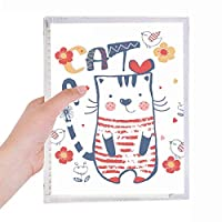漫画のかわいい猫の鳥の花のスケッチ 硬質プラスチックルーズリーフノートノート