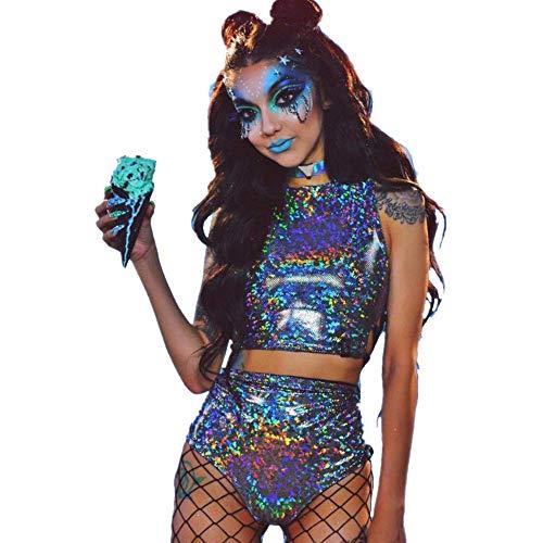 Sallypan Rave Outfit für Frauen, 2-teilig, glänzendes Festival Crop Top & Booty Shorts Unterteile Metallic Holographic Rainbow Outfits,M