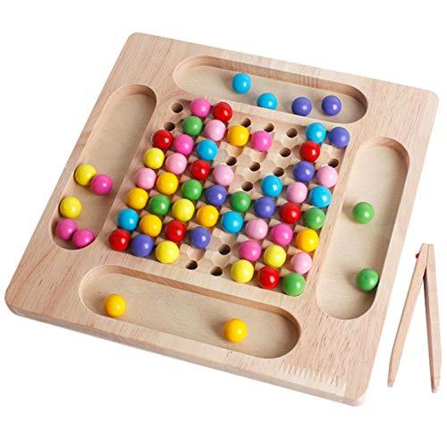 Brettspiel mit Kugeln, Holz Clip Perlen Spiel Puzzle Board, Montessori Brettspiel Matching Spiel, Holzspielzeug, Go Spiele Set für Kinder, Montessori Vorschule Spielzeug für Jungen und Mädchen