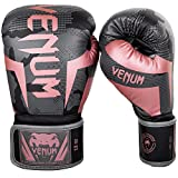 Venum Elite Boxing Gloves - Black/Pink Gold - 8 Oz