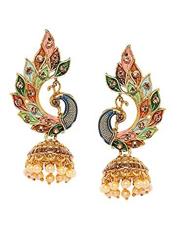 Zaveri Pearls Multicolor Peacock Design Jhumki Earring For Women-ZPFK8775