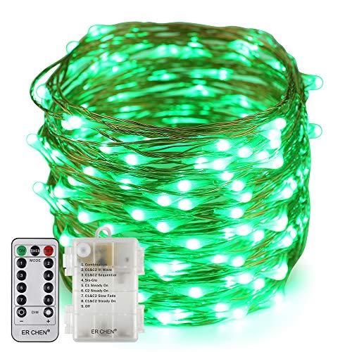 Erchen Batteriebetrieben LED Lichterkette, 66 FT 200 LED 20M dimmbare Kupfer Draht Lichterketten mit Fernbedienung 8 Modi Timer für Innen Außen Weihnachten Party (Grün)
