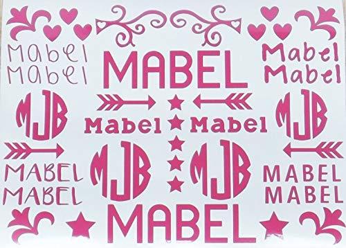 Vinyl Decals School Name Labels Personalized Monogram Sticker Sheet Flower Design