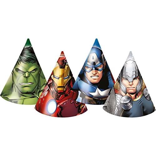Ciao- Conf. 6 Cappellini a Cono Tema Avengers per Compleanno, Multicolore, PRS84668