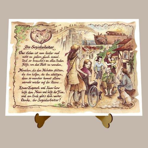 Die Staffelei Geschenk Sozialarbeiter Sozialassistent Gedicht Zeichnung Color 20 x 15 cm mit Aufsteller