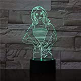lampara 3D Pared 7 Cambios de Color Actriz decoloración Lámpara de Mesa Lámpara de Dormitorio Lámpara de Color Regalo de cumpleaños