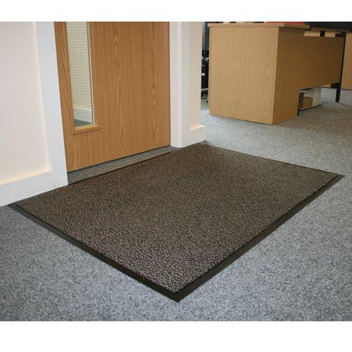 JVL Robuste Fußmatte, rutschfeste Gummi-Rückseite, Bodenmatte, Vinyl, grau/schwarz, 80x 120cm, groß