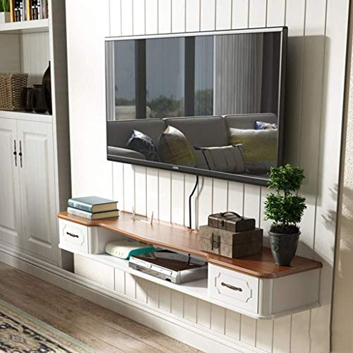 CS-SFE - Estantería de TV con 2 cajones flotantes para Montar en la Pared (Color Blanco, tamaño: 110 cm), Blanco y marrón, 110 cm