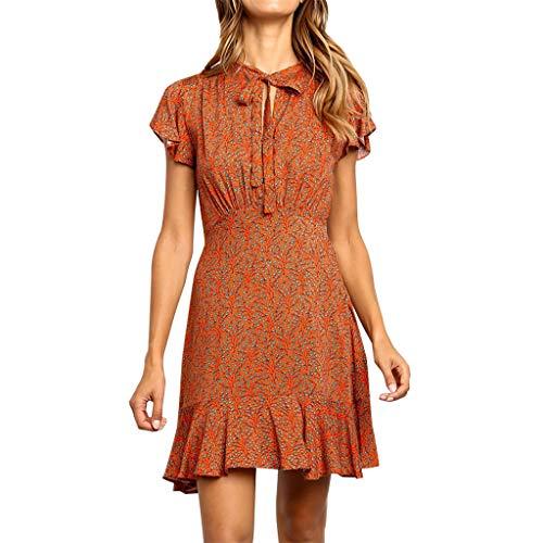 Baiomawzh Vestidos Mujer Gasa Alinear Manga de volantes Floral Impresión Vendaje Corbata Mini vestido bohemio mujer(S,naranja)