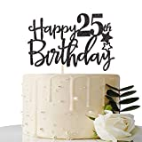 Black Happy 25th Birthday Cake Topper,Hello 25,Cheers to 25 Years, 25 & Fabulous Party Decoration