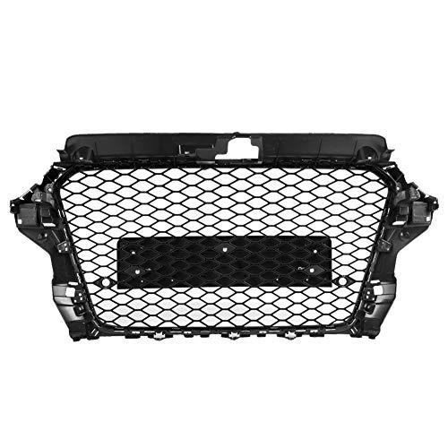 51Hacl8Av L - Radar Falsches Auge, Auto RS3 Style Black Frame Fronthaube Middle Mesh Grille Zubehör Passend für A3 8V 2013-2016
