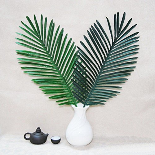 Asoaso 5 Pack Palm Leaves Fake Faux Artificial Plant Green Single Leaf Party Tropical De - Nerly Grass Tall Hang Center Dried Basket Vine Trees Office Plastic Topiary National Vase