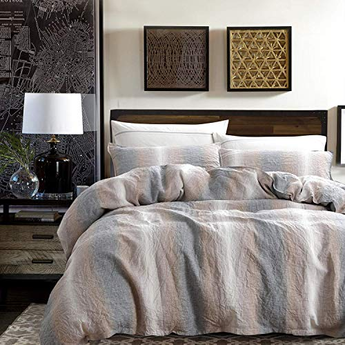 NTBAY 3 Pieces French Linen Duvet Cover Set, Hidden Tie Closure, Durable and Breathable Stone Washed Comforter Cover, Queen, Camel and Grey