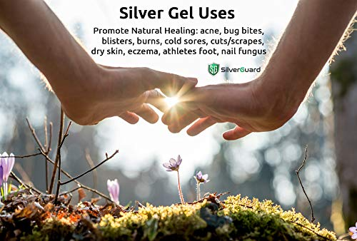 Silver Gel Skin Care Healing Aid & Protectant | Active Colloidal Silver Gel for Skin with Pure Aloe Vera Gel | Structured Silver Gel Wound Care