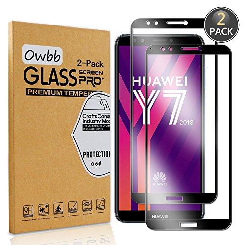 Owbb 2 Stück Schwarz Gehärtetes Glas Bildschirm schutzfolie Für Huawei Y7 2018 Full Coverage Schutz 99prozent High Transparent Explosionsgeschützter Film