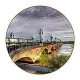 France Bridges Rivers Trains - Juego de 6 posavasos redondos de fibra de piel para evitar muebles y mesa