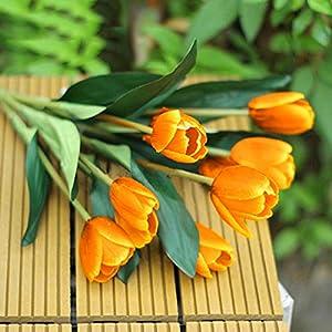 Silk Flower Arrangements Bluelans 9 Heads Artificial Silk Real Touch Tulips Flower Bouquet Home Room or Birthday Garden Decoration (Orange)