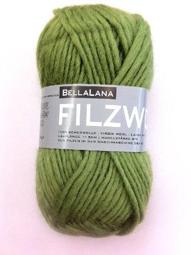 Filzwolle grün aus 100% Schurwolle, Lauflänge ca. 50 m