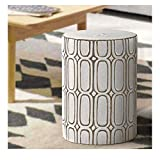 MOTINI Ceramic Stool, 16' Round Glazed Elliptical Pattern Ceramic Garden Stool Decorative Side Table for Garden, Patio, Lawn, Home Indoor & Outdoor (White and Brown)
