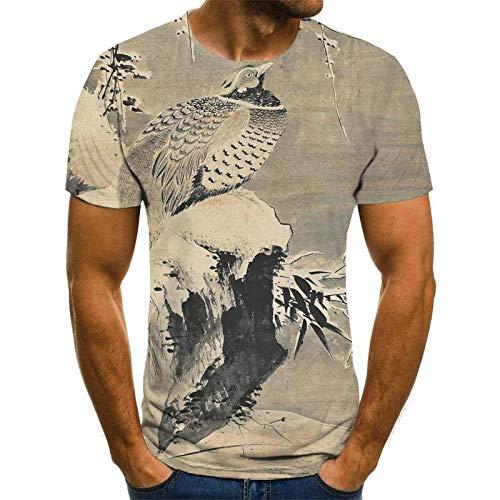 HGFHKL Camiseta con Estampado 3D de Estilo Chino de Tinta Animal Camiseta Fresca e Interesante Camiseta de Verano de Manga Corta para Hombre Camiseta de Moda