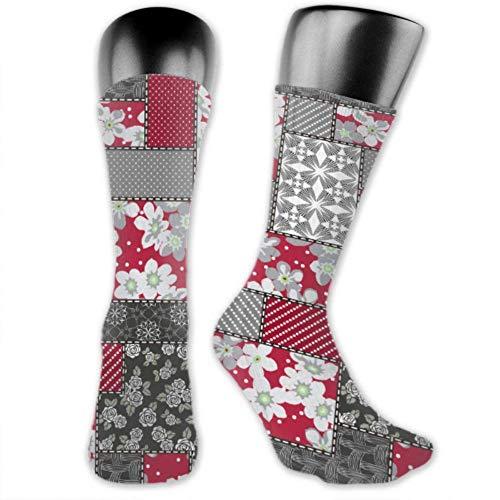 Leila Marcus Herren und Frauen Socken sind bequem, leicht und schweißtreibend, lustige Patchwork-Socken für Männer, mittelgroß und lang
