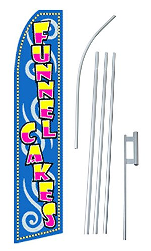 "NEOPlex - ""Funnel Cakes Pink/Yellow/Blue"" Complete Flag Kit - Includes 12' Swooper Feather Business Flag With 15-foot Anodized Aluminum Flagpole AND Ground Spike"